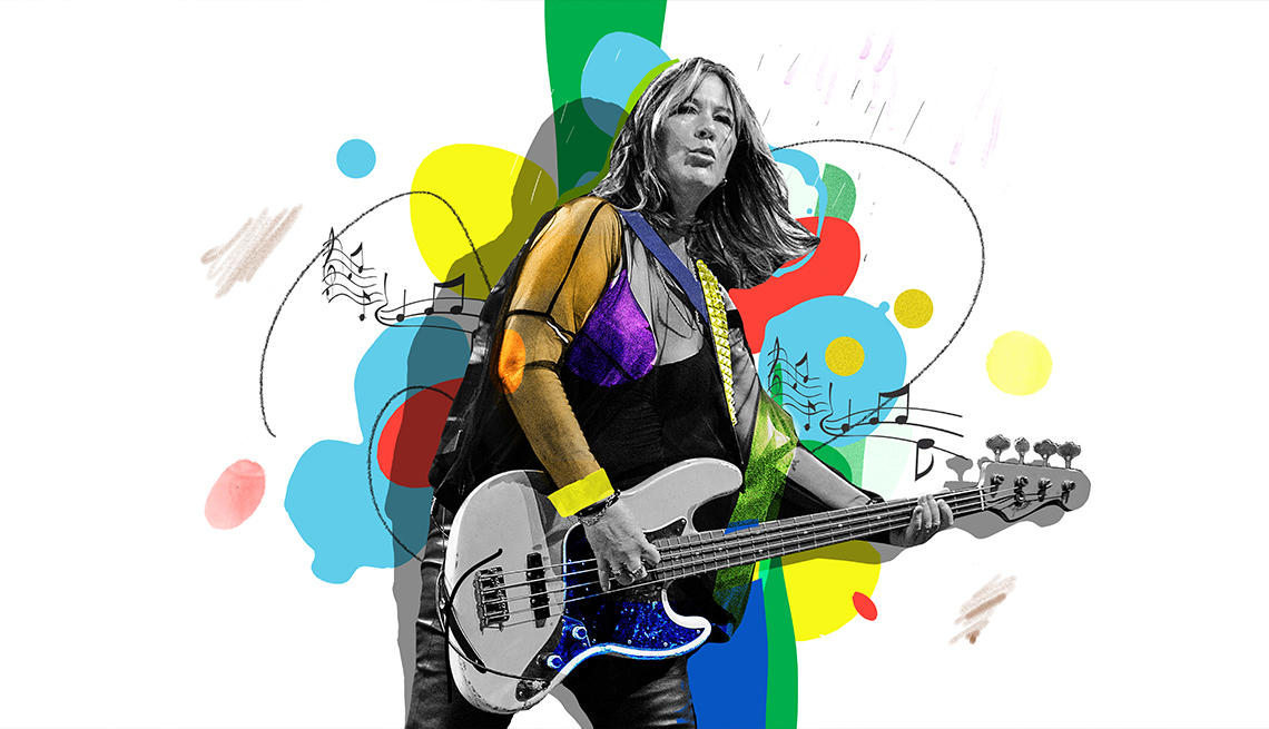 colorful illustration of Kathy Valentine playing guitar