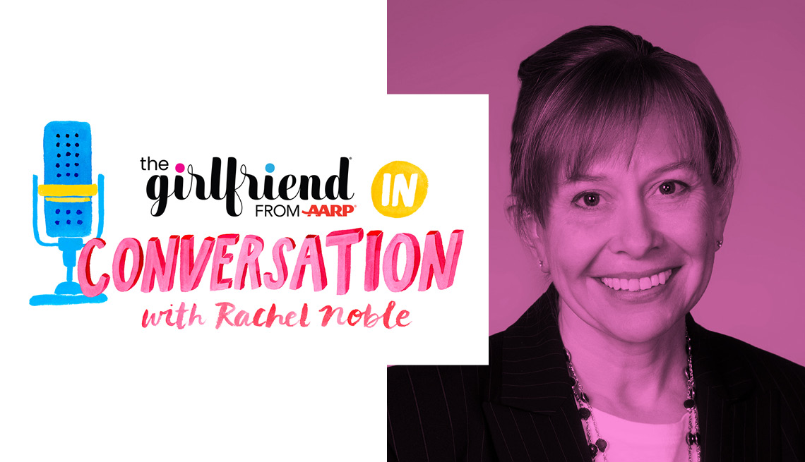 'the girlfriend: in conversation from a a r p with Rachel Noble' logo with headshot of Rachel Noble
