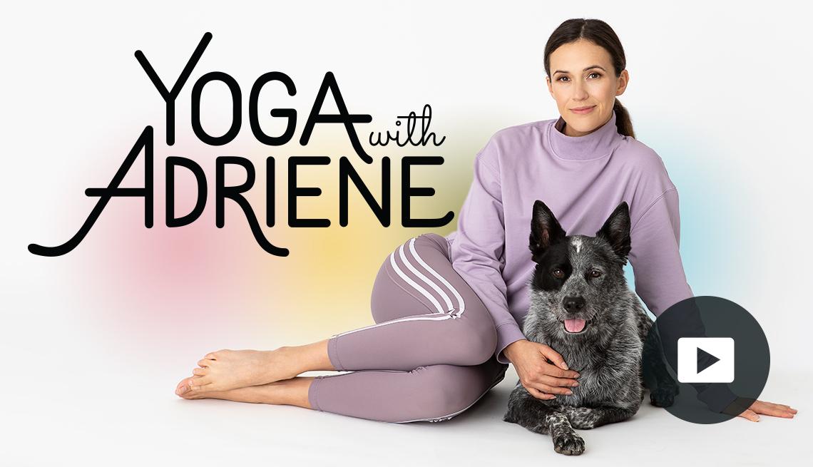 Adriene Mishler and her dog Benji and 'Yoga with Adriene' logo