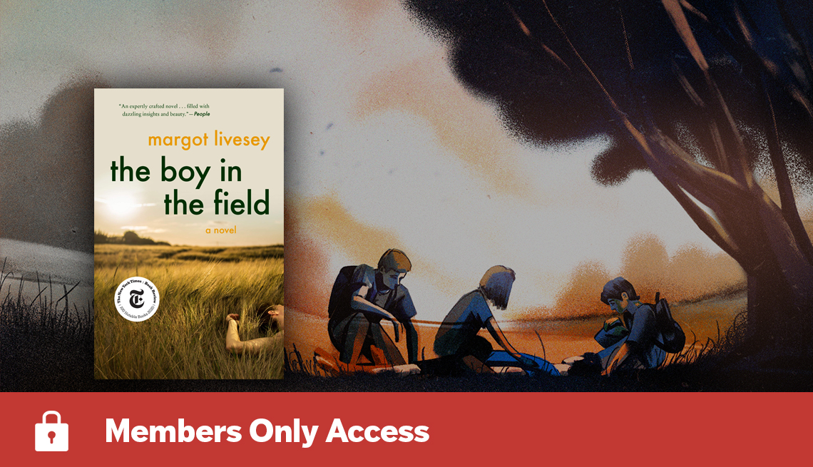 the boy in the field book cover and illustration of three teens looking at a body on the ground, and Members Only Access banner