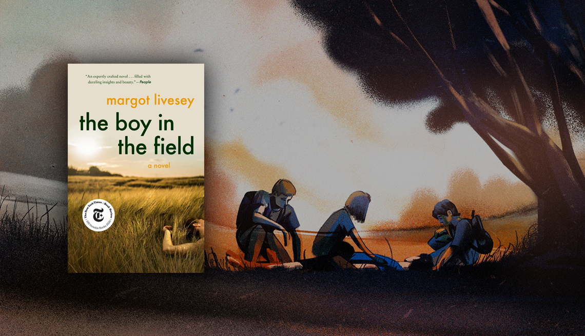 'The Boy in the Field' book cover against illustration of three teens looking over a boy lying under an oak tree in a field