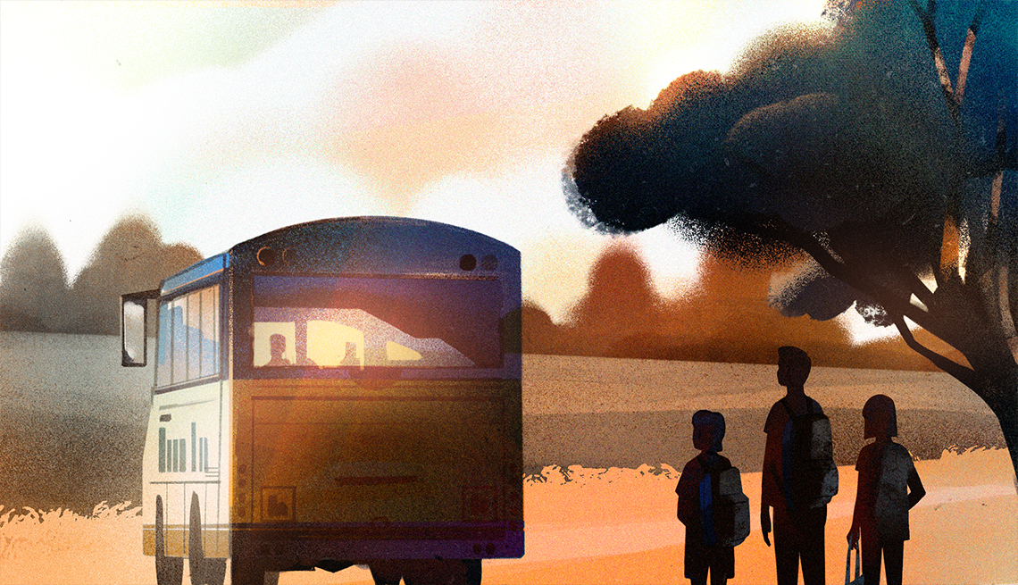illustration of three teens standing together under a tree and watching a school bus drive away