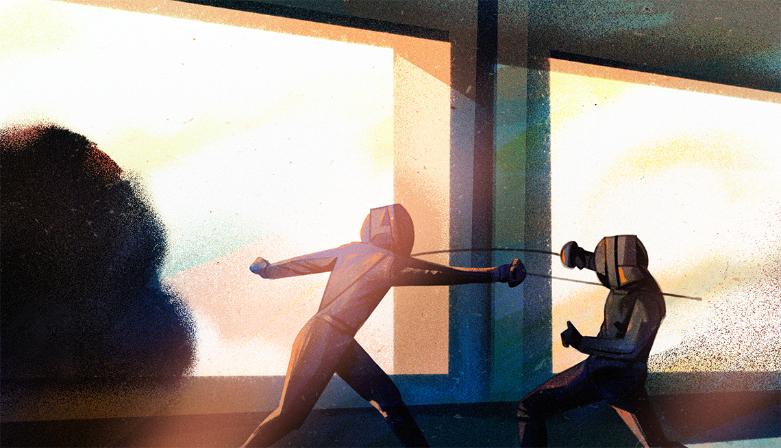 illustration of two people fencing in front of big windows
