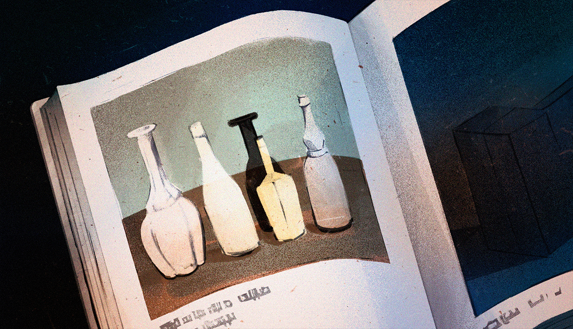 illustration of an open book showing Morandi painting with five bottles