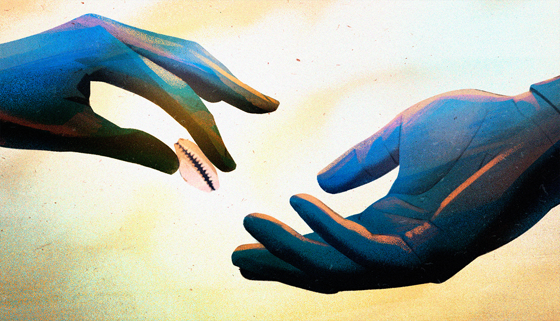 illustration of one person's hand slipping a small pink shell into another person's hand