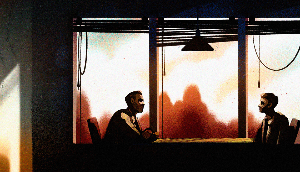 illustration of a man and teenage boy sitting at a table in interview room with two chairs in front of windows