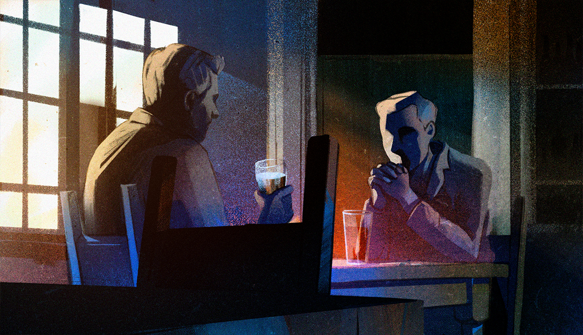 illustration of two men drinking beers at a table in a pub