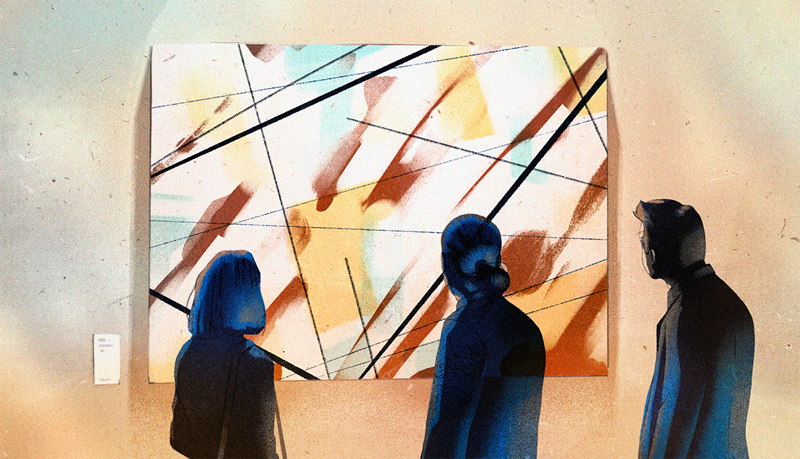 three people from the back standing before a large abstract painting hung on a wall