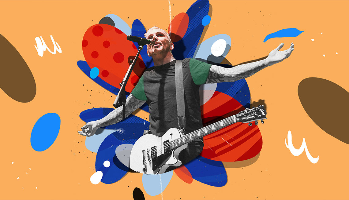 colorful illustration of Everclear's Art Alexakis singing into microphone with guitar