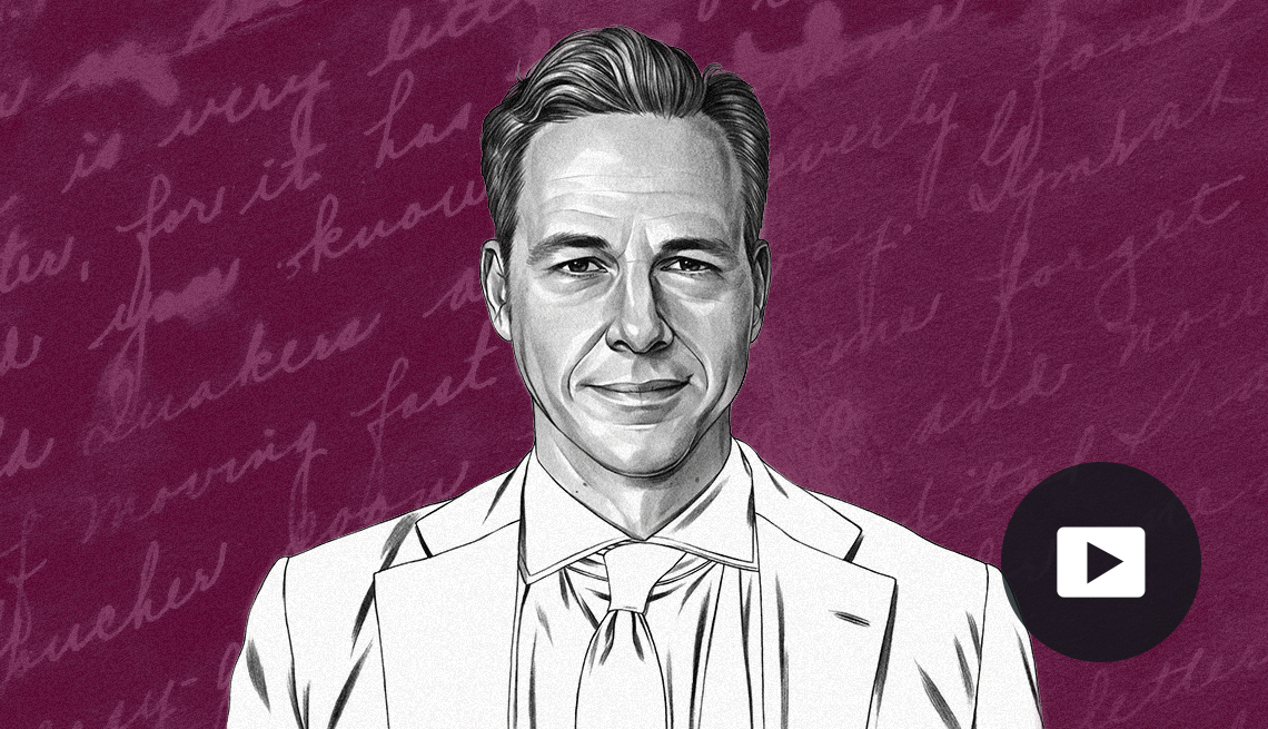 illustration of jake tapper with a play button icon overlayed