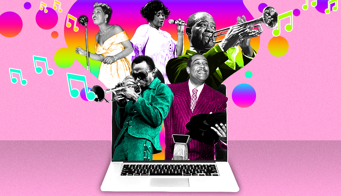 colorful illustration showing Billie Holiday, Ella Fitzgerald, Louis Armstrong, Miles Davis, Duke Ellington coming out of a laptop, singing and playing instruments