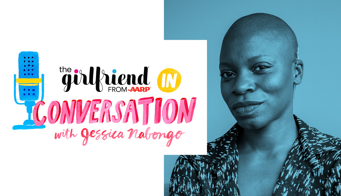 'the girlfriend: in conversation from a a r p with  Jessica Nabongo' logo with headshot of Rachel Noble