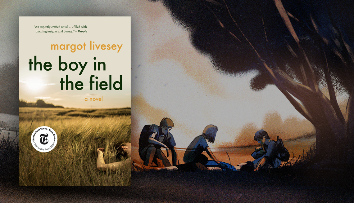 the boy in the field book cover and illustration of three teens looking at a body on the ground