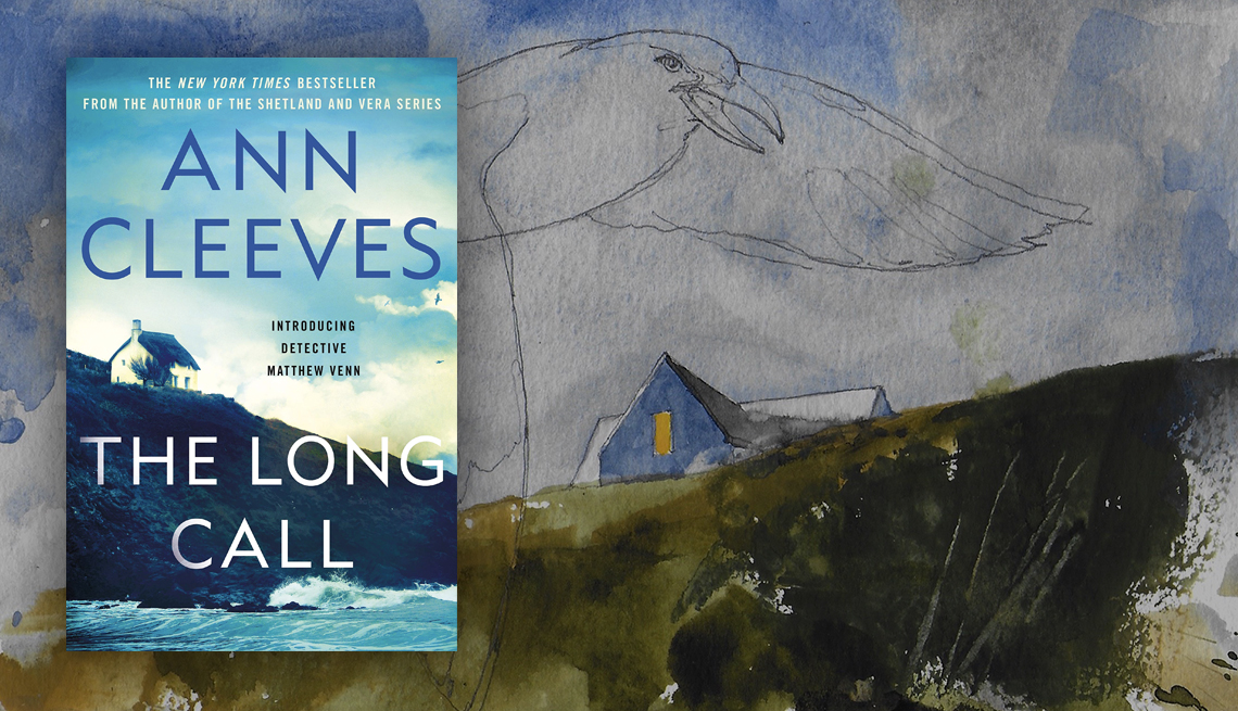 The Long Call book cover and illustration of a house on a hill and a large seagull