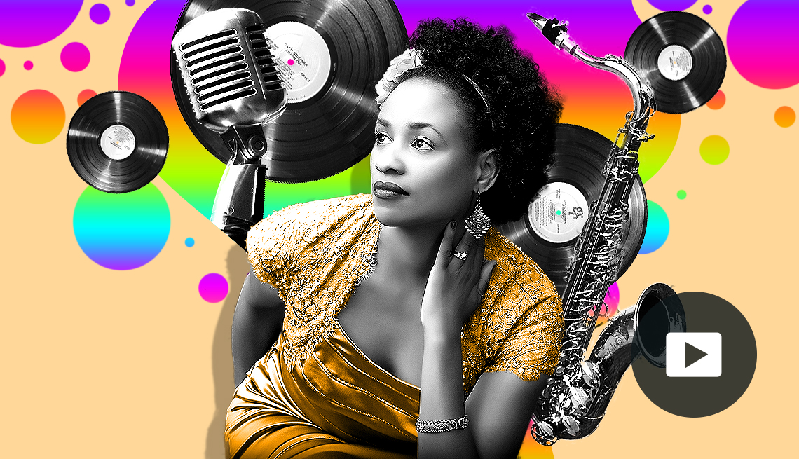 portrait of Charmin Michelle in colorful montage of record albums, a microphone and saxophone, and video icon overlay