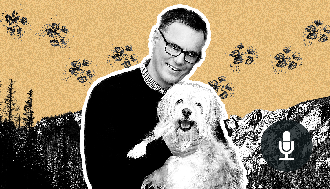 W. Bruce Cameron holding small white dog with background of paw prints and mountains, and audio icon