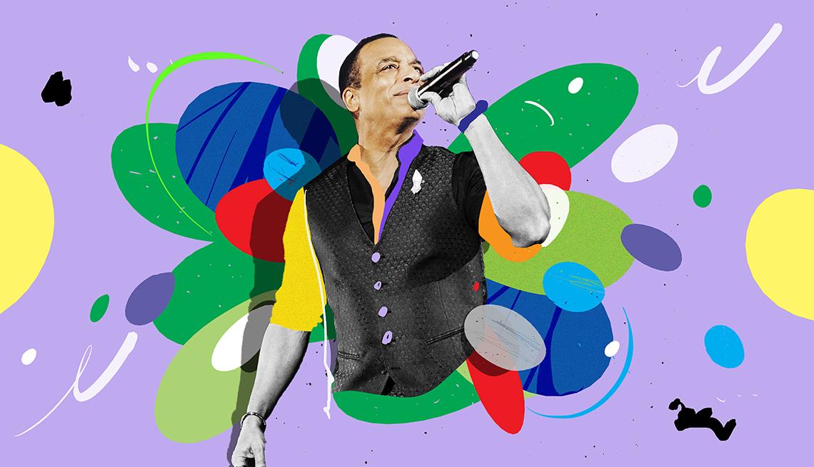 Colorful illustration of Jon Secada holding microphone