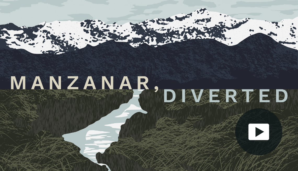illustration of waterway cutting through grassy plain at base of snow-capped mountains with words 'Manzanar, Diverted' and video icon