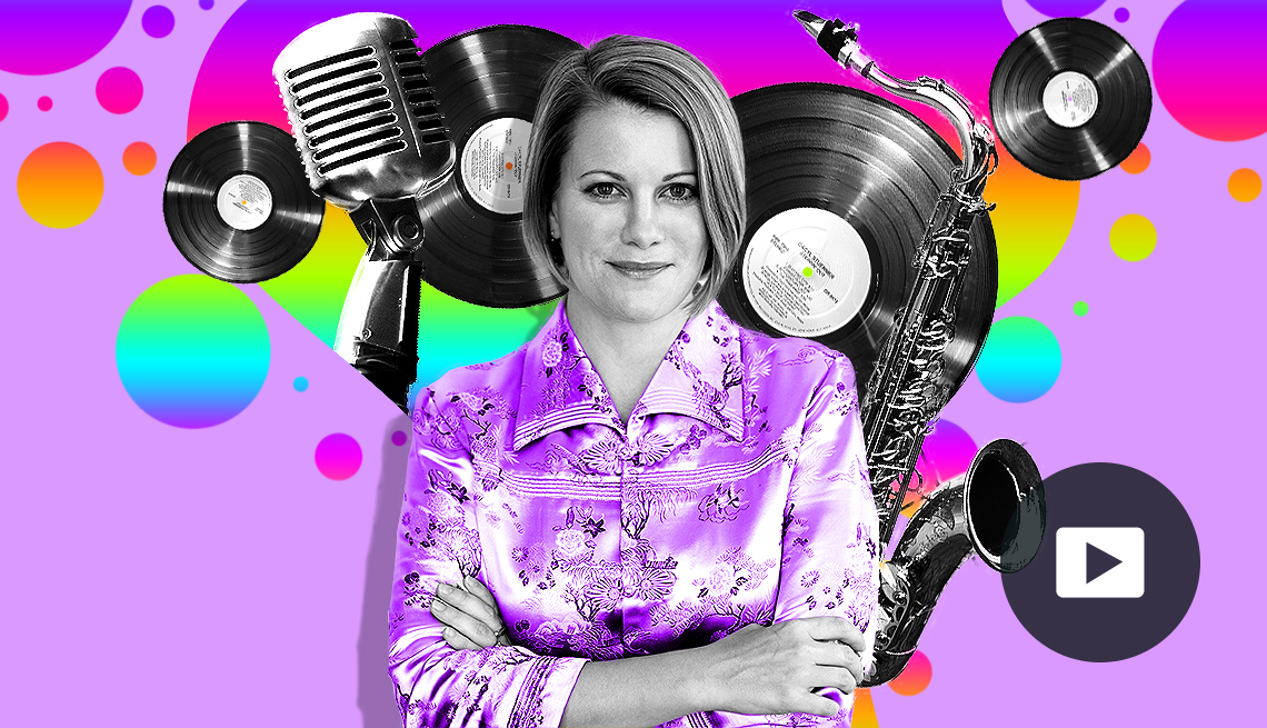 portrait of Maud Hixson in colorful montage of record albums, a microphone and saxophone, and video icon overlay