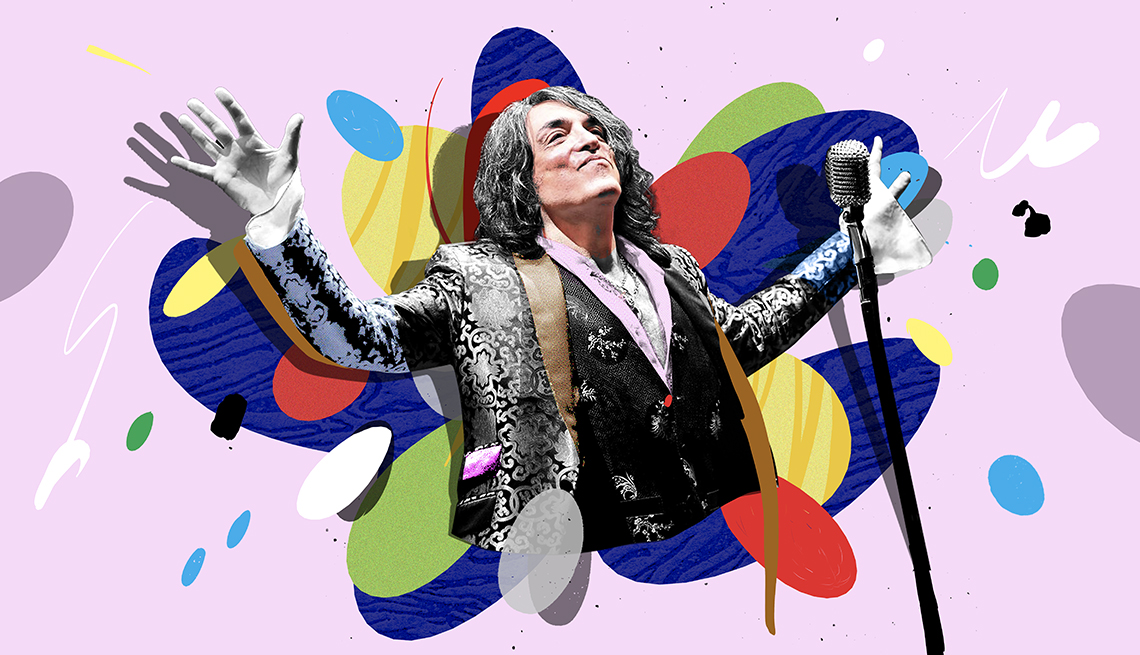 colorful illustration of Paul Stanley at microphone with arms stretched out wide