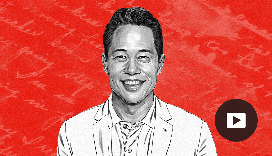 illustration of Richard Lui against red background with cursive writing, with video icon overlay