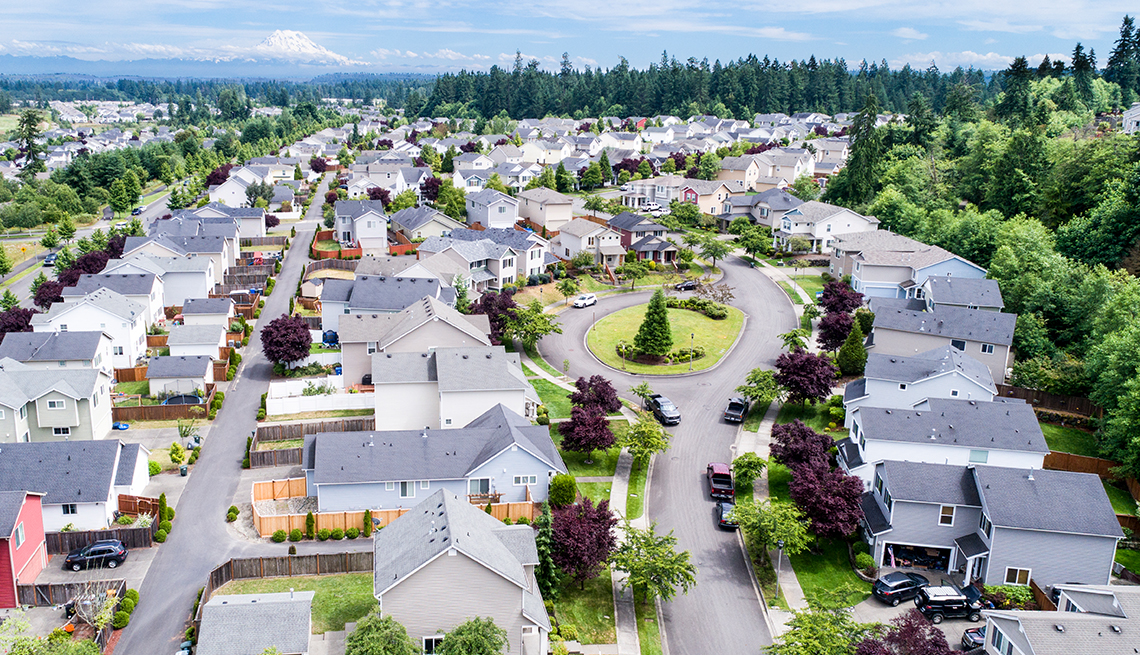 aerial view of a neighborhood with many houses, streets, trees and distant mountains