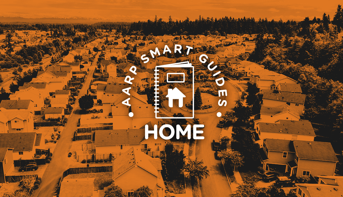 AARP Smart Guides Home graphic and orange-tinted photo of aerial view of neighborhood with many houses