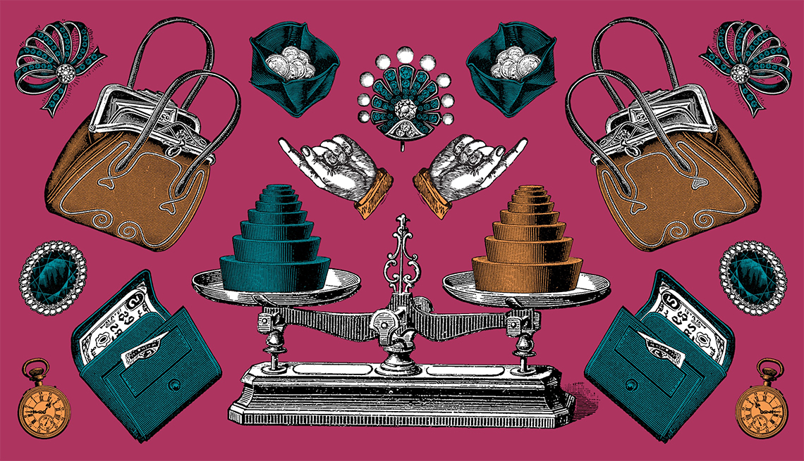 illustration of a balanced old-fashioned scale, wallets, coin purses, hand bags, jewelry and more