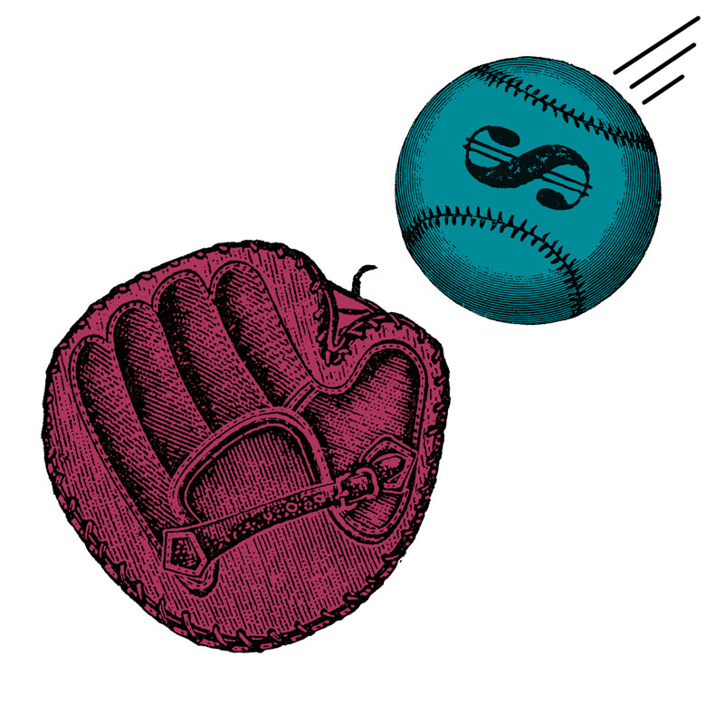 illustration of a baseball with a dollar sign on it going towards a baseball mitt