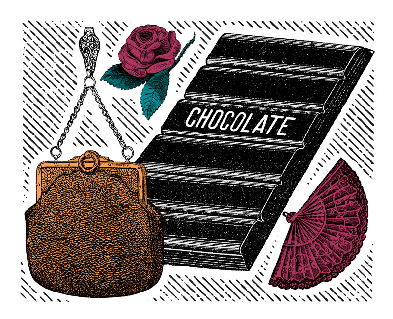 illustration of old-fashioned purse, rose, chocolate bar and fan