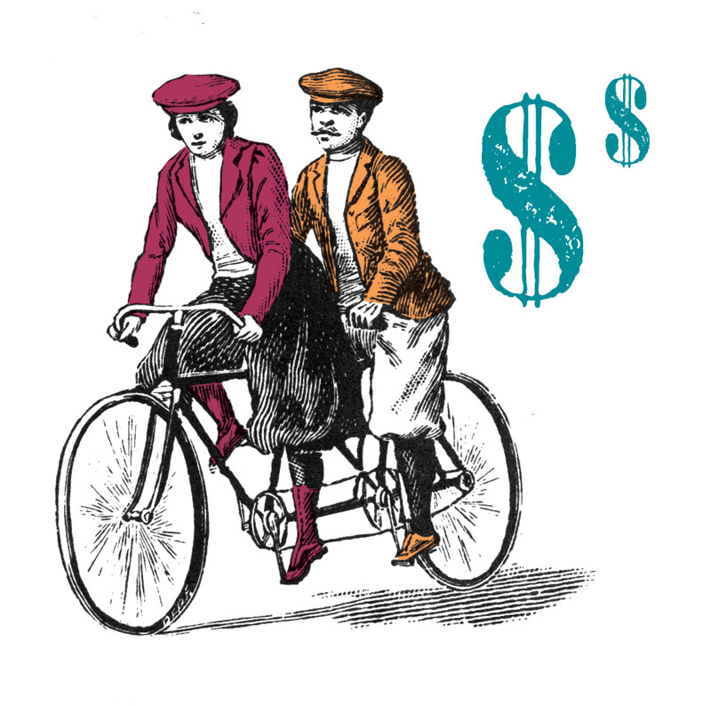 illustration of man and woman wearing old-fashioned riding clothes on old-fashioned double bicycle next to dollar signs