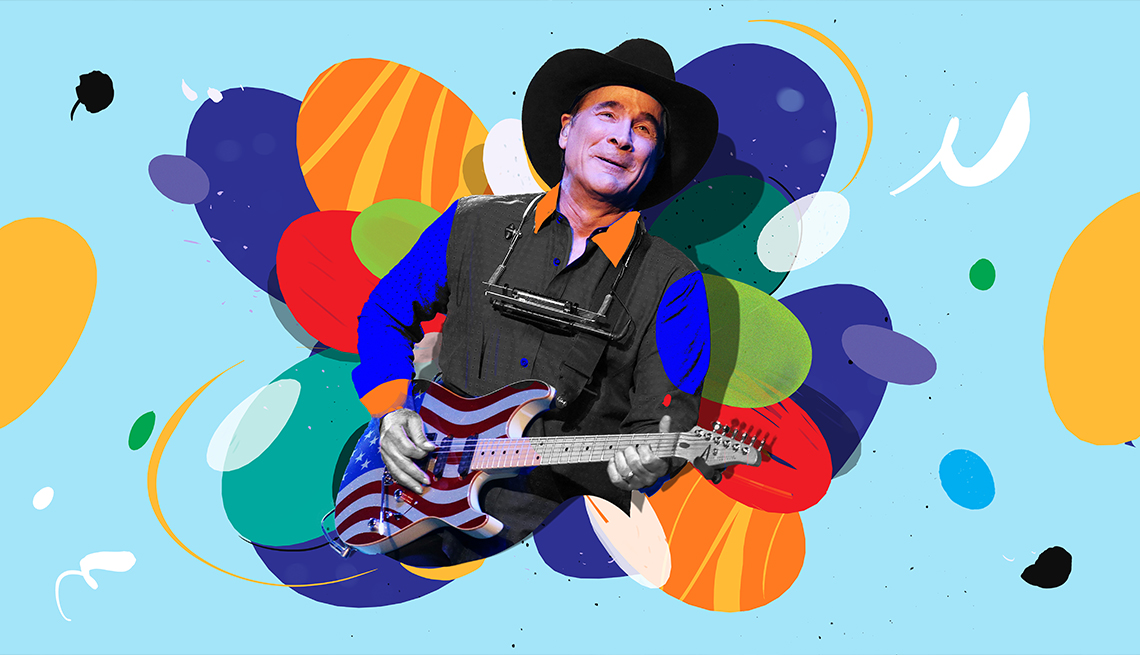 colorful illustration of Clint Black playing electric guitar painted as American flag