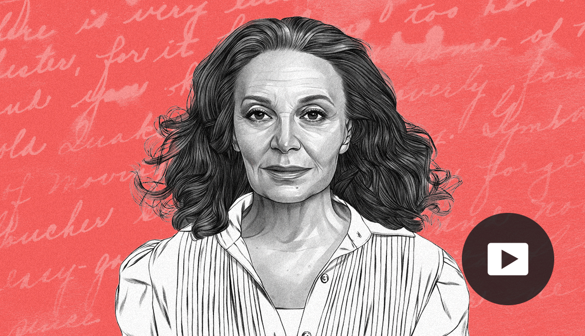 illustration of Diane von Furstenberg against pink background with cursive lettering, with video icon overlay
