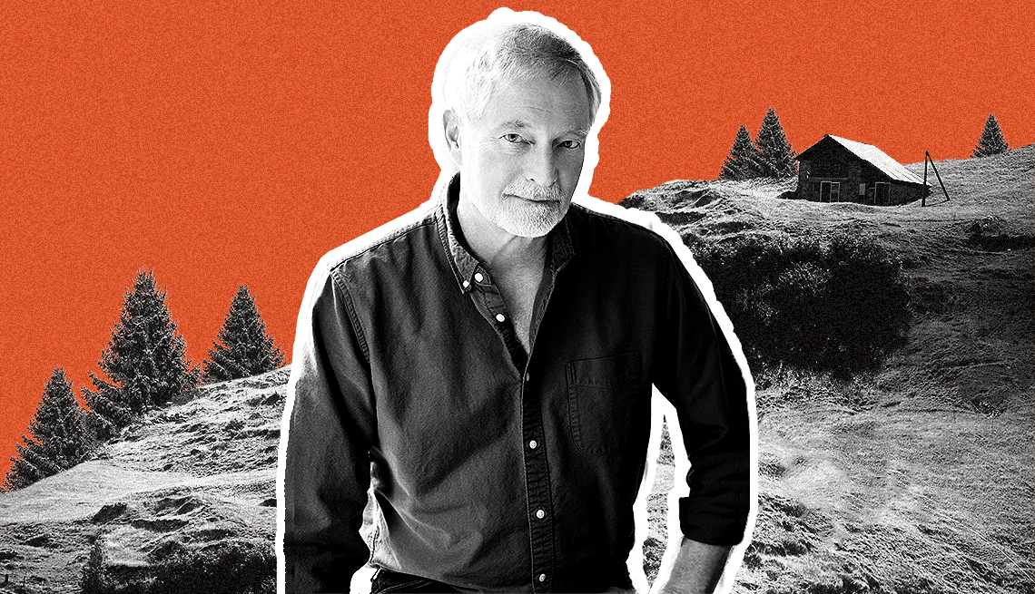Erik Larson portrait with background of mountain and lone cabin