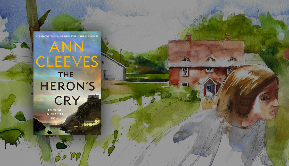 The Heron's Cry by Ann Cleeves book cover overlaid on illustration of red house and greenery, with person in foreground looking off