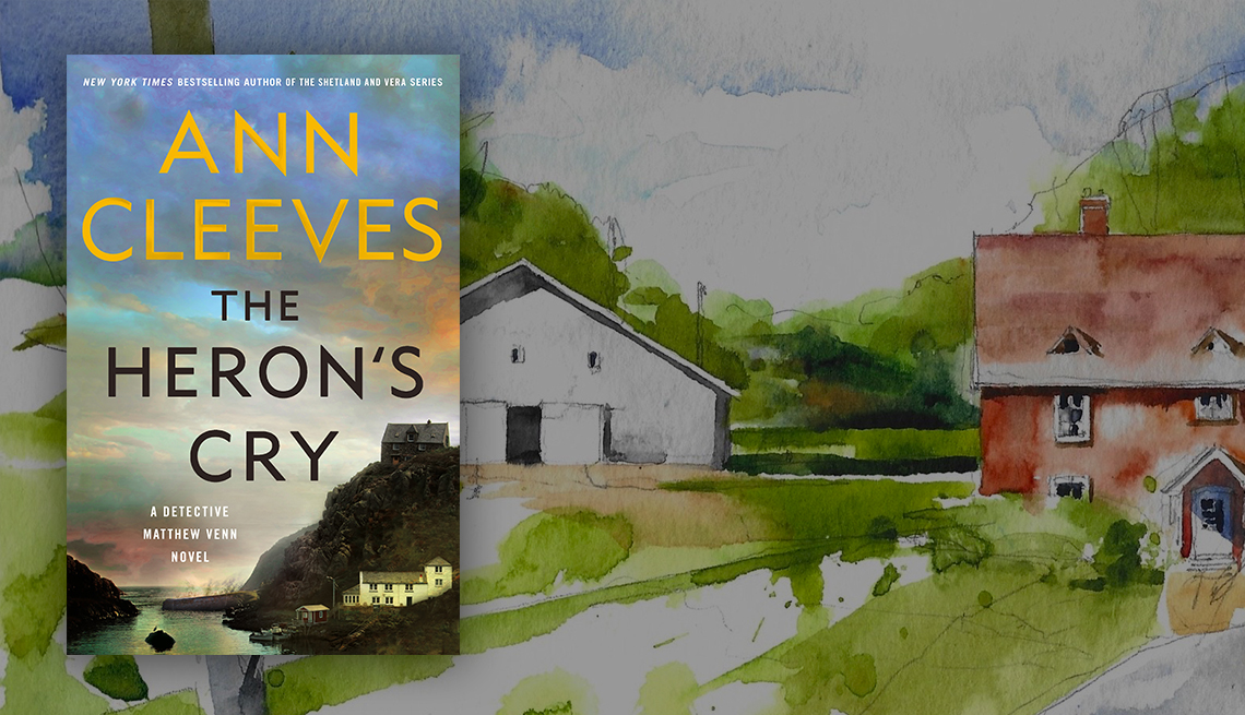 The Heron's Cry by Ann Cleeves book cover overlaid on illustration of red house and white barn