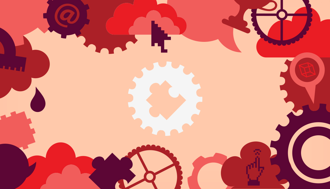 graphic of puzzle piece inside a gear in the center with perimeter of other gears, puzzle pieces, clouds, and computer-related icons including mouse pointers