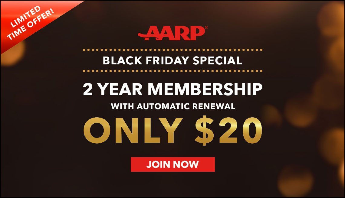Black Friday AARP Membership Banner showing 2 years for $20