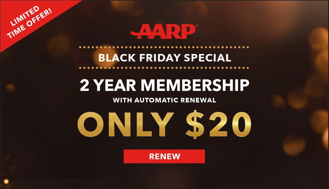 Black Friday AARP Renewal Membership Banner showing 2 years for $20