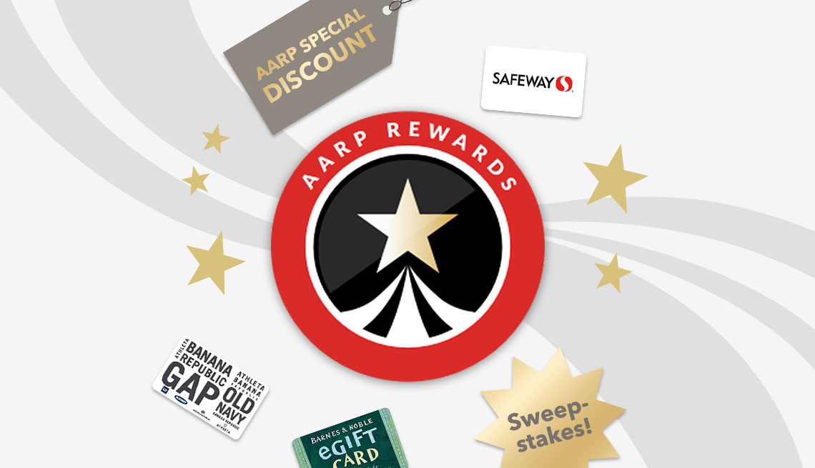 AARP Rewards Logo with safeway and gap gift cards