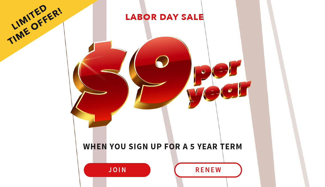 AARP Labor Day Sale Banner with $9/year