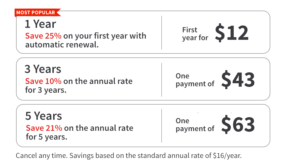 One, Three and Five year pricing terms for AARP Memberships