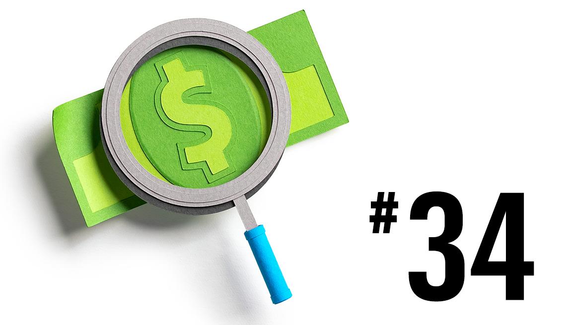 Billete con una lupa encima que resalta el signo de dólares y el número 34 al lado