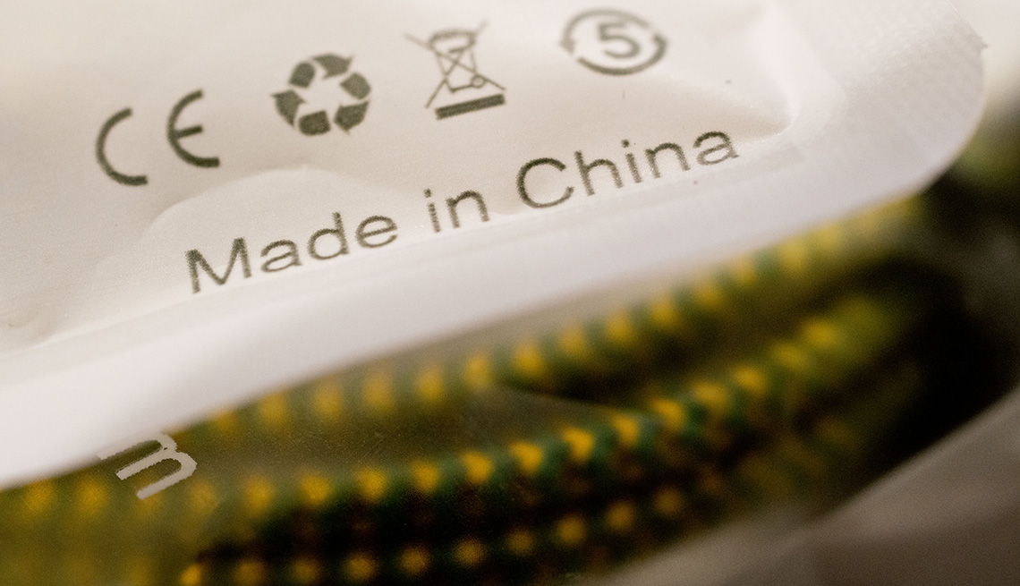 """The words """"Made In China"""" are seen on a package"""
