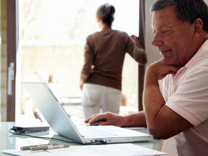 man reviewing finances