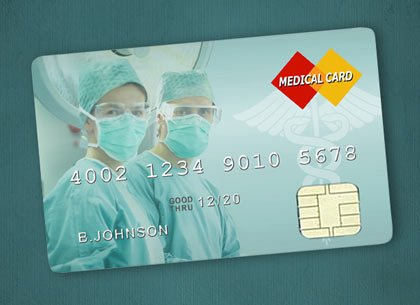 Dos cirujanos en una tarjeta de crédito