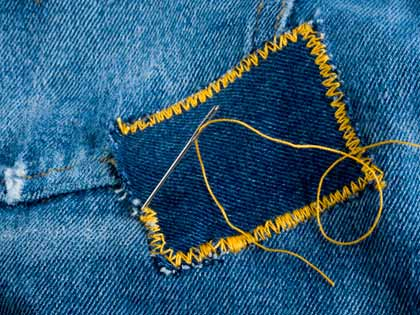 jeans with a fresh denim patch