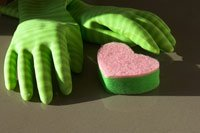 green gloves and a sponge