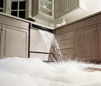 a dishwasher overflowing