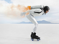 Man wearing a jet pack- Expedited payments can help you avoid late fees